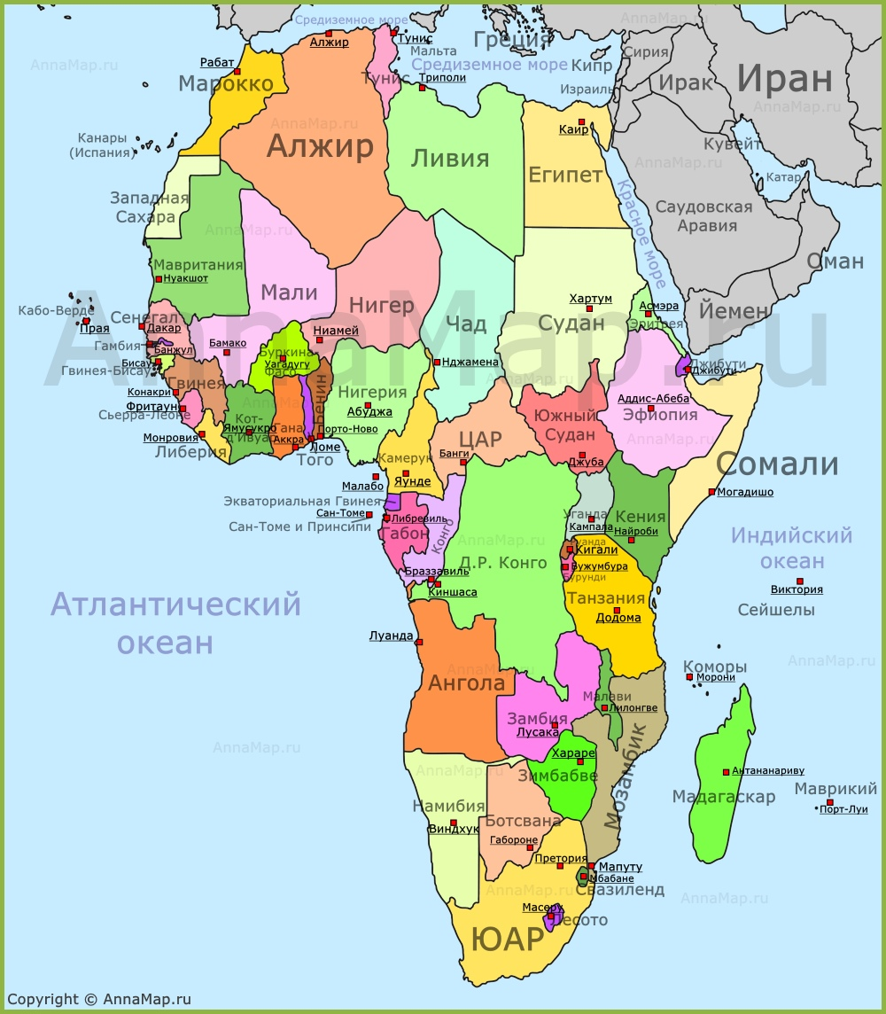 Karta Afriki Na Russkom Yazyke So Stranami I Stolicami Annamap Ru