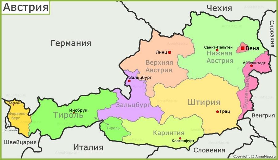 Politicheskaya Karta Avstrii Annamap Ru