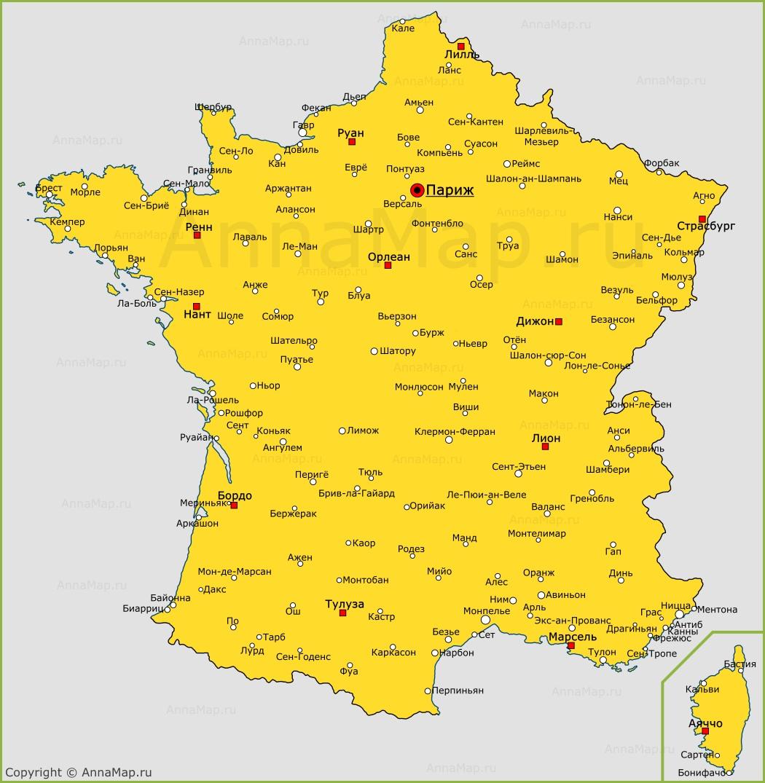 Goroda Francii Na Karte Karta Francii S Gorodami Annamap Ru