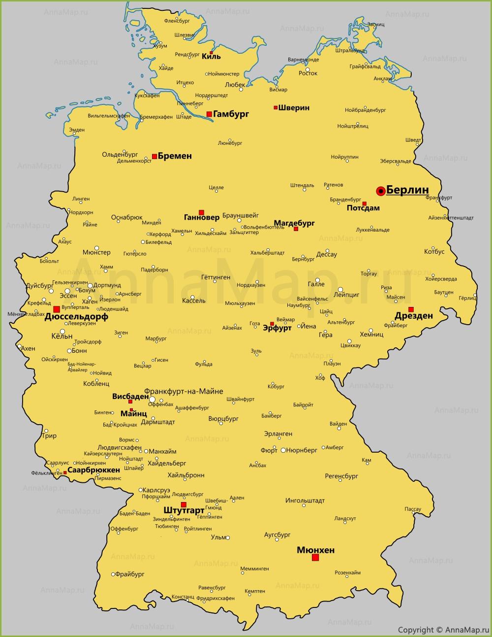 Goroda Germanii Na Karte Karta Germanii S Gorodami Annamap Ru