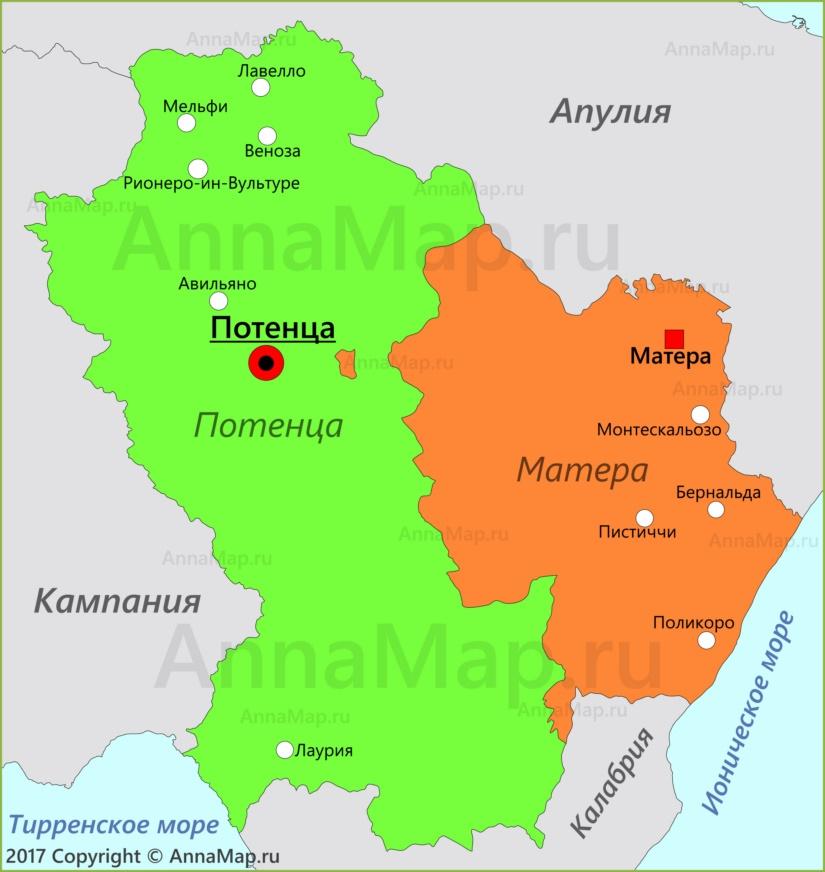 Карта Базиликаты
