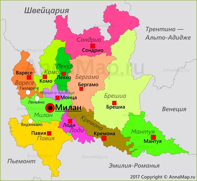 Карта Ломбардии