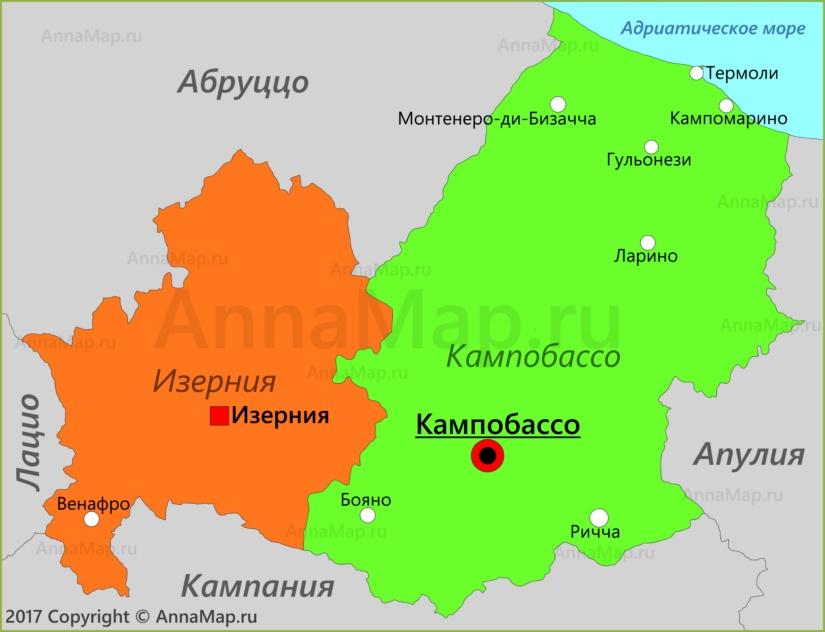 Карта Молизе