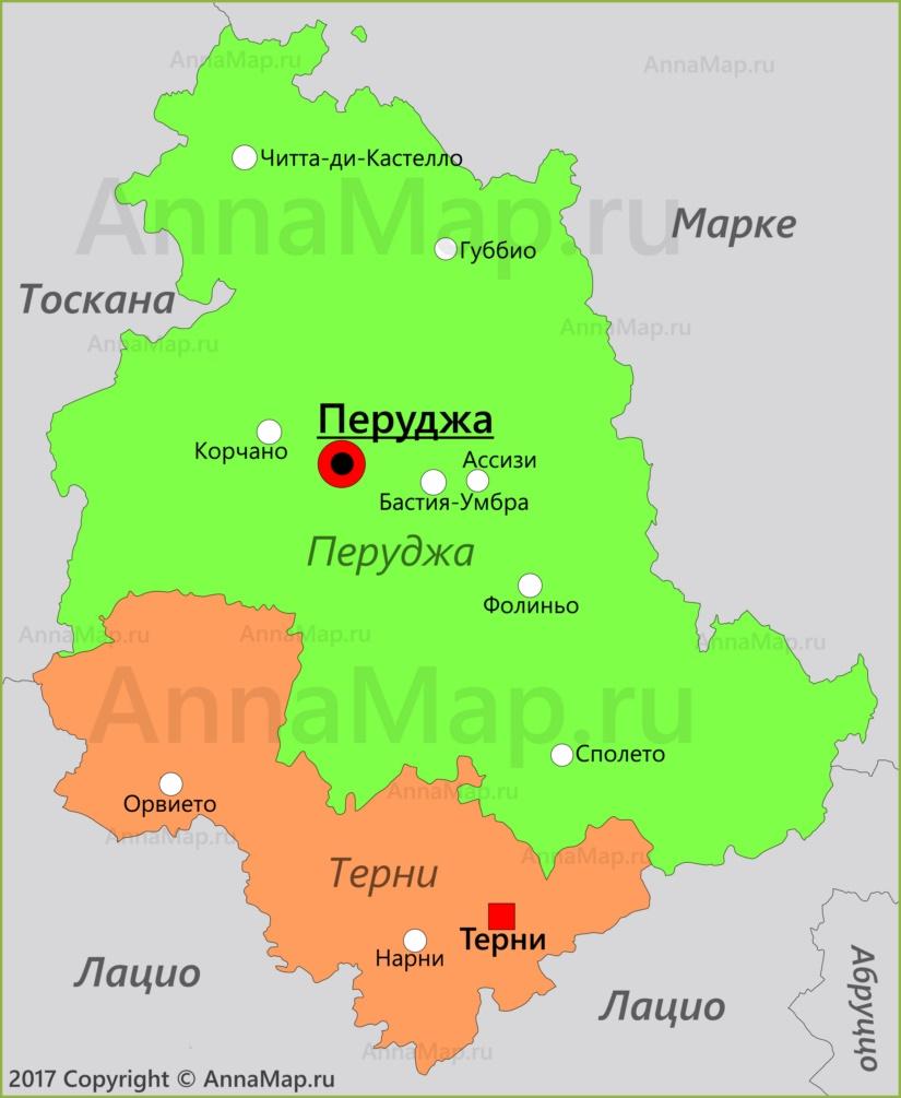 Карта Умбрии